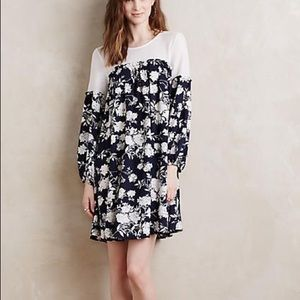 Anthropologie Navy Floral Swing Dress, Size M